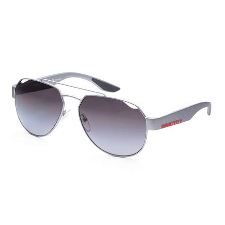 Men's PS57US-4495W159 Linea Rossa Polarized Sunglasses // Silver + Polar Gray Gradient
