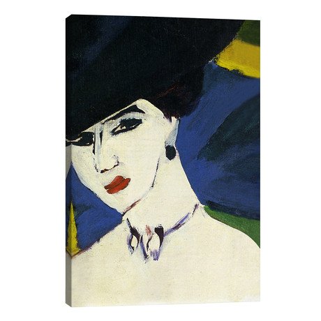 "Female Nude with a Black Hat // Ernst Ludwig Kirchner (26""W x 40""H x 1.5""D)"