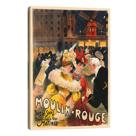"Le Moulin Rouge Advertisement, 1900 // E. Paul Villefroy (26""W x 40""H x 1.5""D)"