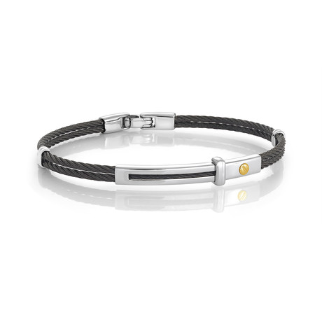 Stainless Steel 2-Row Cable Bracelet // Black + Silver (XS)