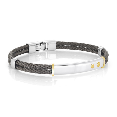 Stainless Steel 2-Row Cable Beaded + Double Accent Bracelet // Black + Silver (XS)
