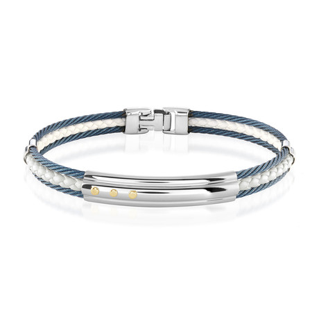 Stainless Steel + Leather Bracelet // Blue + White + Silver (XS)