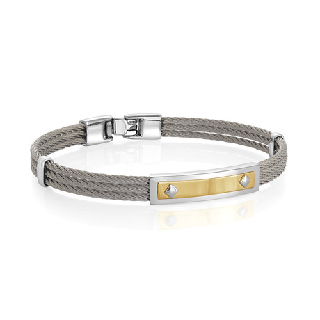 Stainless Steel ID Plate Bracelet // Gold + Silver (XS)