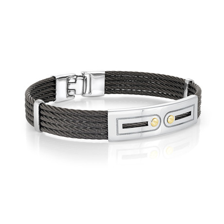 Stainless Steel 5-Row Cable Bracelet // Black + Silver (XS)