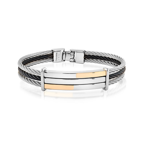 Stainless Steel 3-Row Cable Bracelet // Silver + Black (XS)