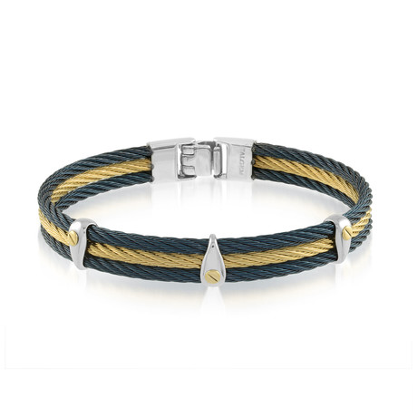 Stainless Steel 3-Row Cable Bracelet// Blue + Gold (XS)