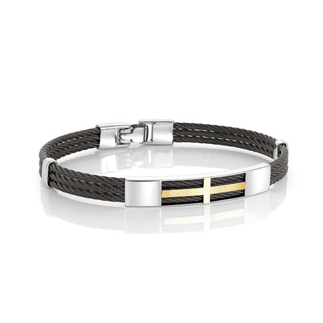 Stainless Steel 3-Row Cable Bracelet // Black + Silver (XS)