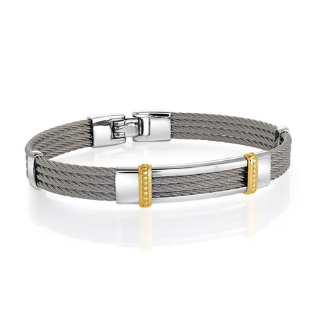 Stainless Steel 4-Row Cable Beaded Bracelet // Silver (XS)