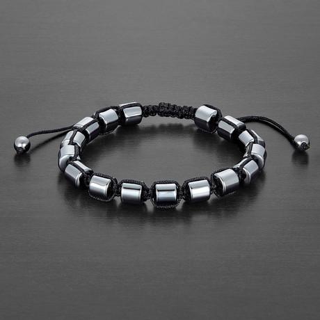 Round Hematite Stone Beaded Bracelet // Gray