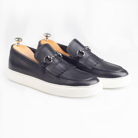 Horsebit Leather Tassle Slip-On Sneakers // Black (Euro: 38)