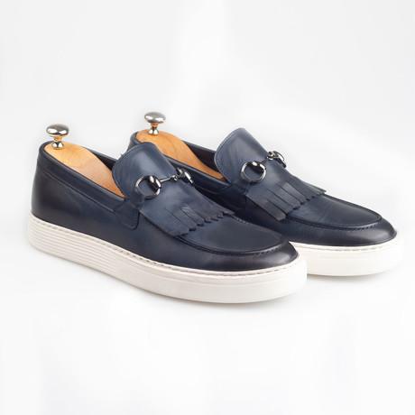 Horsebit Leather Tassle Slip-On Sneakers // Navy (Euro: 38)