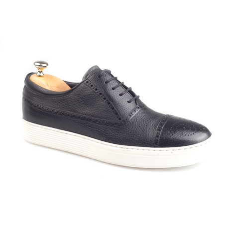 Brogue Leather Sneakers // Black (Euro: 38)