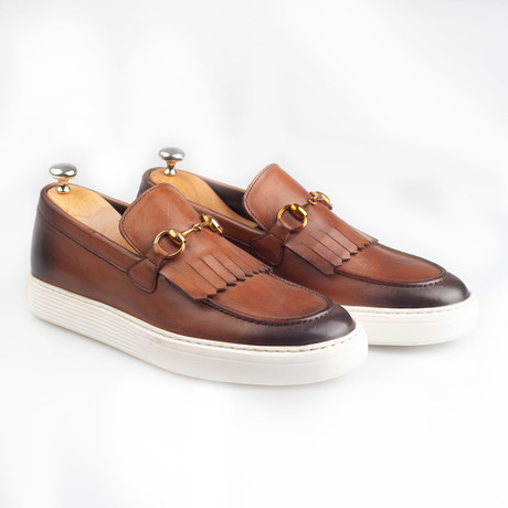 Horsebit Leather Tassle Slip-On Sneakers // Brown (Euro: 38)