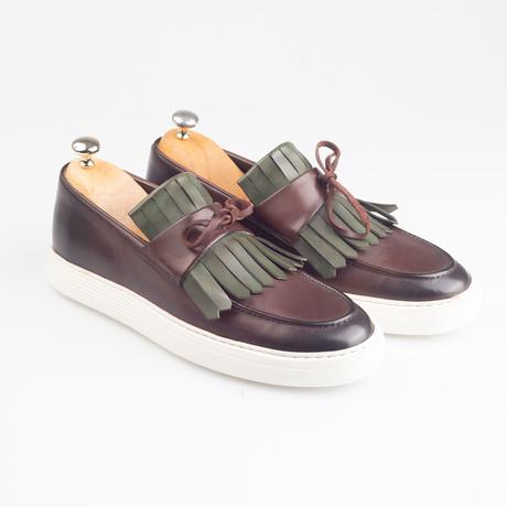 Leather Tassle Slip-On Sneakers // Brown (Euro: 40)