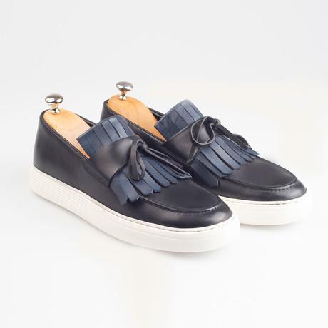 Leather Tassle Slip-On Sneakers // Black (Euro: 38)