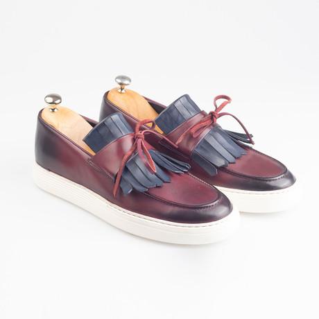 Leather Tassle Slip-On Sneakers // Burgundy (Euro: 38)