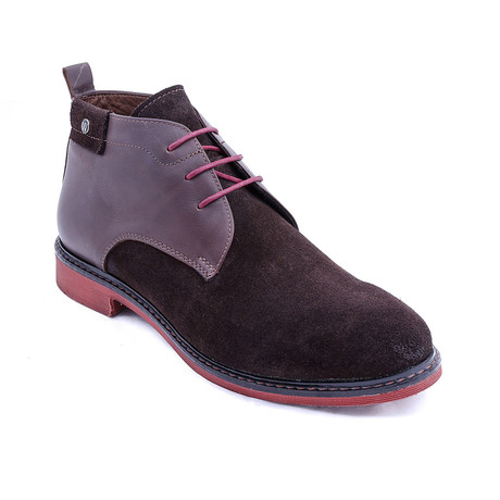 Suede Two-Tone Boots // Brown + Maroon (Euro: 38)