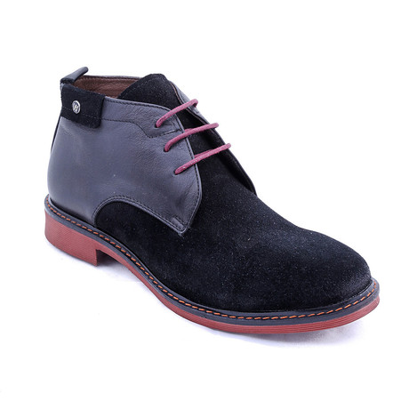 Suede Two-Tone Boots // Black + Red (Euro: 38)