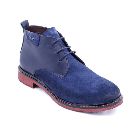 Suede Two-Tone Boots // Navy + Red (Euro: 38)