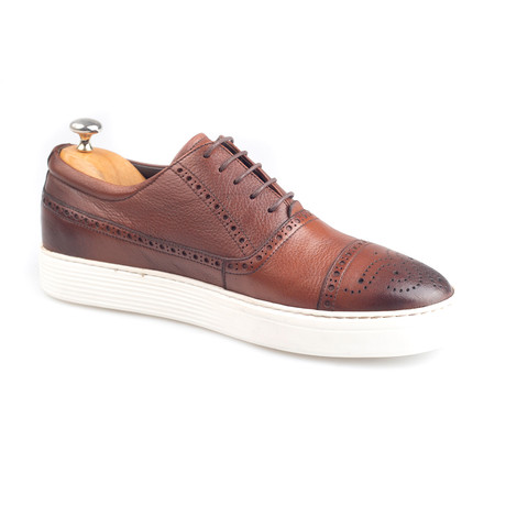 Brogue Leather Sneakers // Brown (Euro: 38)