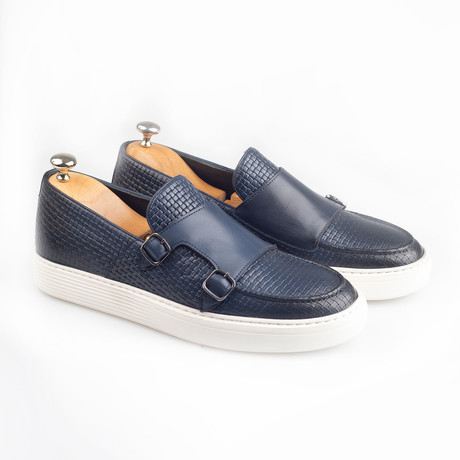 Textured Double Monk Strap Leather Sneakers // Navy (Euro: 38)