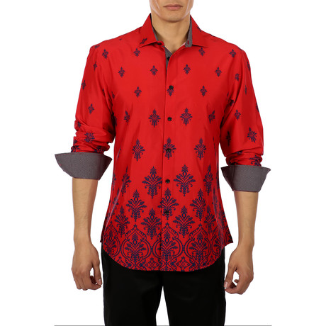 Printed Long-Sleeve Button-Up Shirt // Red (XS)