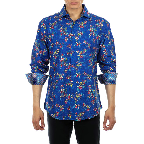 Floral Print Long Sleeve Button Up Shirt // Navy (XS)