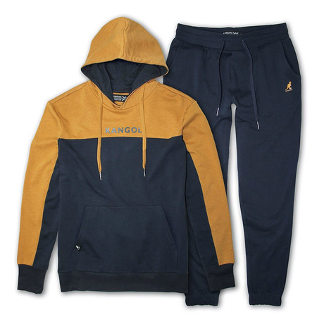 French Terry Cut + Sew Hoodie + Jogger Pant Set // Navy + Mustard (S)