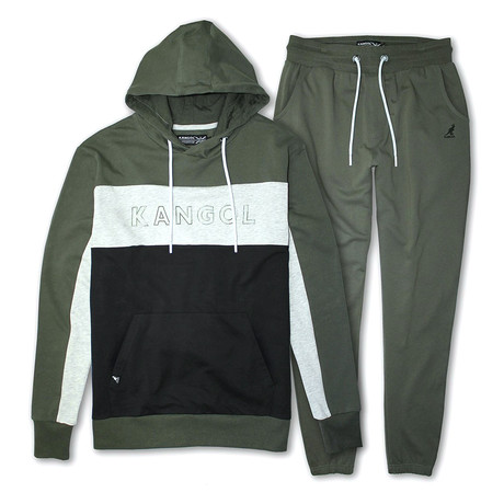 French Terry Colorblock Pullover Hoodie + Jogger Pant Set // Olive + Black (S)