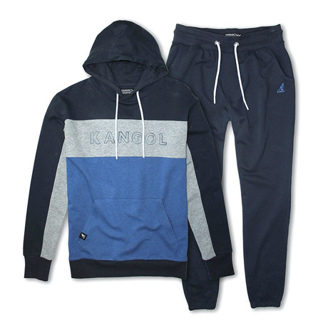 French Terry Colorblock Pullover Hoodie + Jogger Pant Set // Navy + Blue (S)