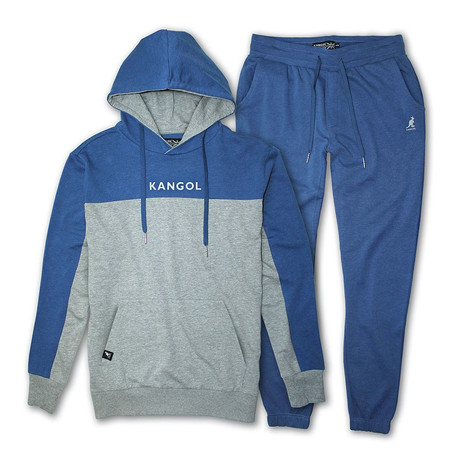 French Terry Cut + Sew Hoodie + Jogger Pant Set // Gray + Blue (S)