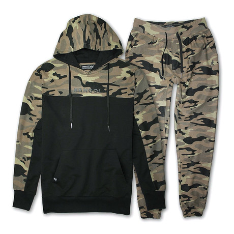 French Terry Cut + Sew Hoodie + Jogger Pant Set // Camouflage + Black (S)