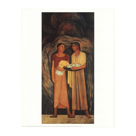 Diego Rivera // Women with Flowers and Vegetables // Offset Lithograph