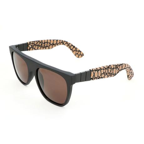Unisex Flat Top Gianni Pompei Sunglasses // Black
