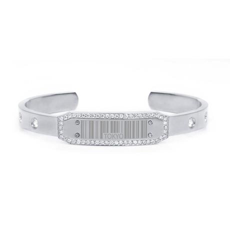 White Diamond Barcode Bracelet // White Gold