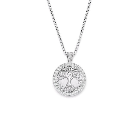 White Diamond Tree of Life Pendant // White Gold