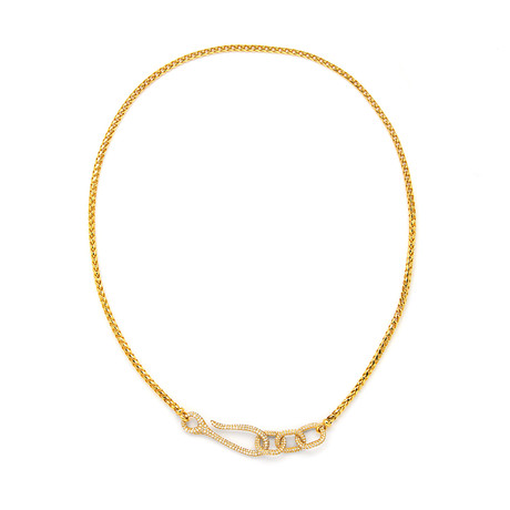 White Diamond Connected Necklace // Yellow Gold