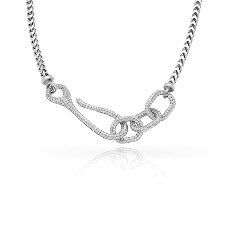 White Diamond Connected Necklace // White Gold