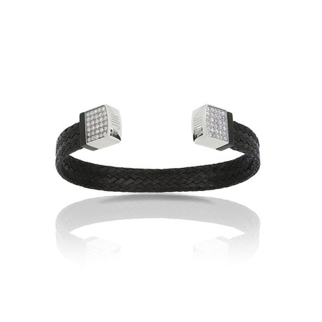 Black Diamond Mesh Bracelet // Black Steel