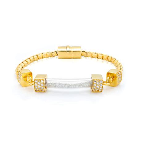 White Diamond Vial Bracelet // Yellow Gold