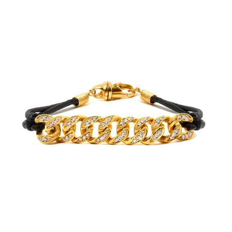 White Diamond Cuban Link+ Leather Cord Bracelet // Yellow Gold