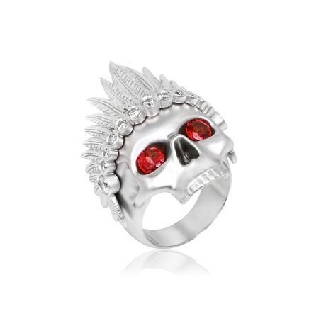 White Diamond + Ruby Feather Headdress Skull Ring // White Gold (9)