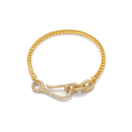 White Diamond Connected Bracelet // Yellow Gold