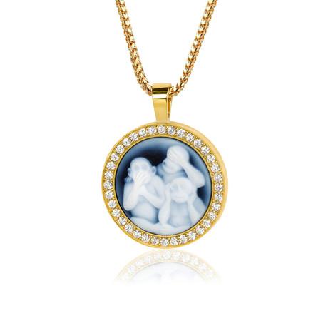White Diamond Three Monkey Pendant // Yellow Gold