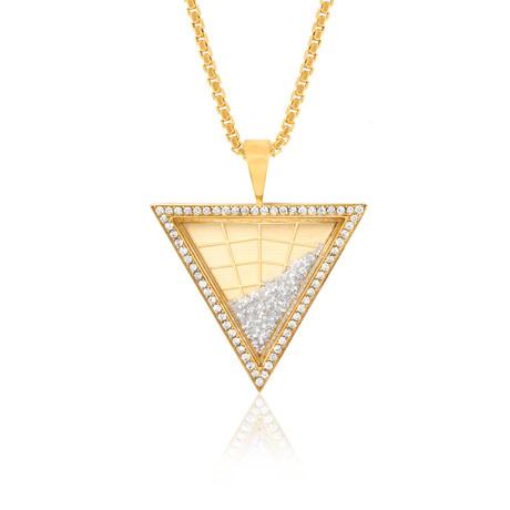 White Diamond Floating Triangle Pendant // Yellow Gold
