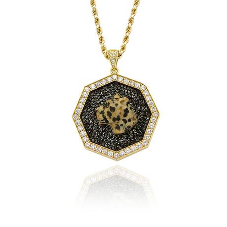White Diamond + Black Diamond Leopard Pendant // Yellow Gold