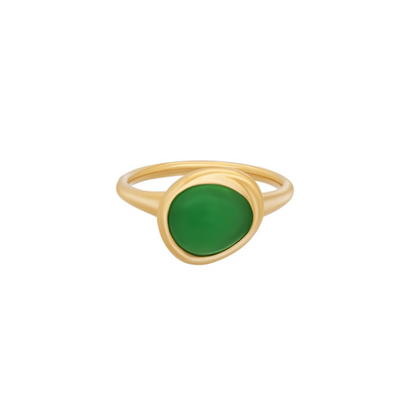 Fred of Paris Belle Rives 18k Yellow Gold Chrysoprase Ring // Ring Size: 6.75