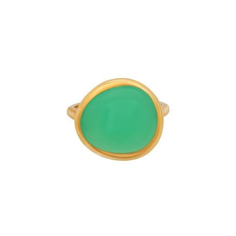 Fred of Paris Belles Rives 18k Yellow Gold Chrysoprase Ring // Ring Size: 5.75