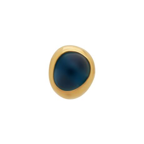 Fred of Paris Belles Rives 18k Yellow Gold London Blue Topaz Single Stud Earring