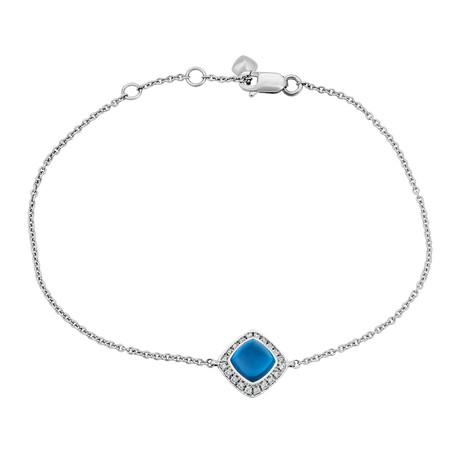 Fred of Paris Paindesucre 18k White Gold Diamond + London Blue Topaz Bracelet